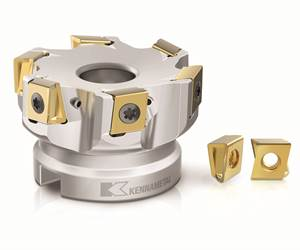 Tangential shoulder mill has mounted inserts with four cutting edges per insert for reduced tooling costs.