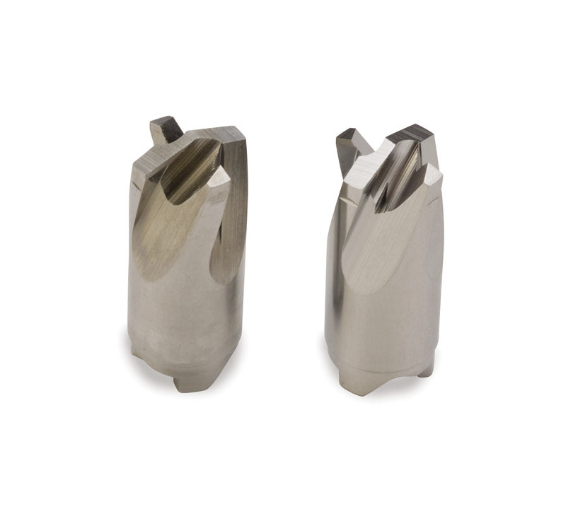 A surgical drill bit before and after electropolishing.