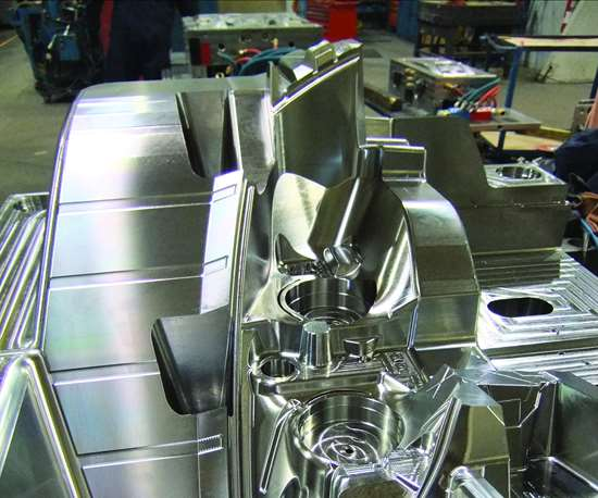 A cavity of a plastic injection mold for an automotive taillight that was machined by Redoe Mold in Windsor, Ontario.