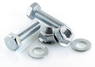 stock photo of metal washers, nuts and screws