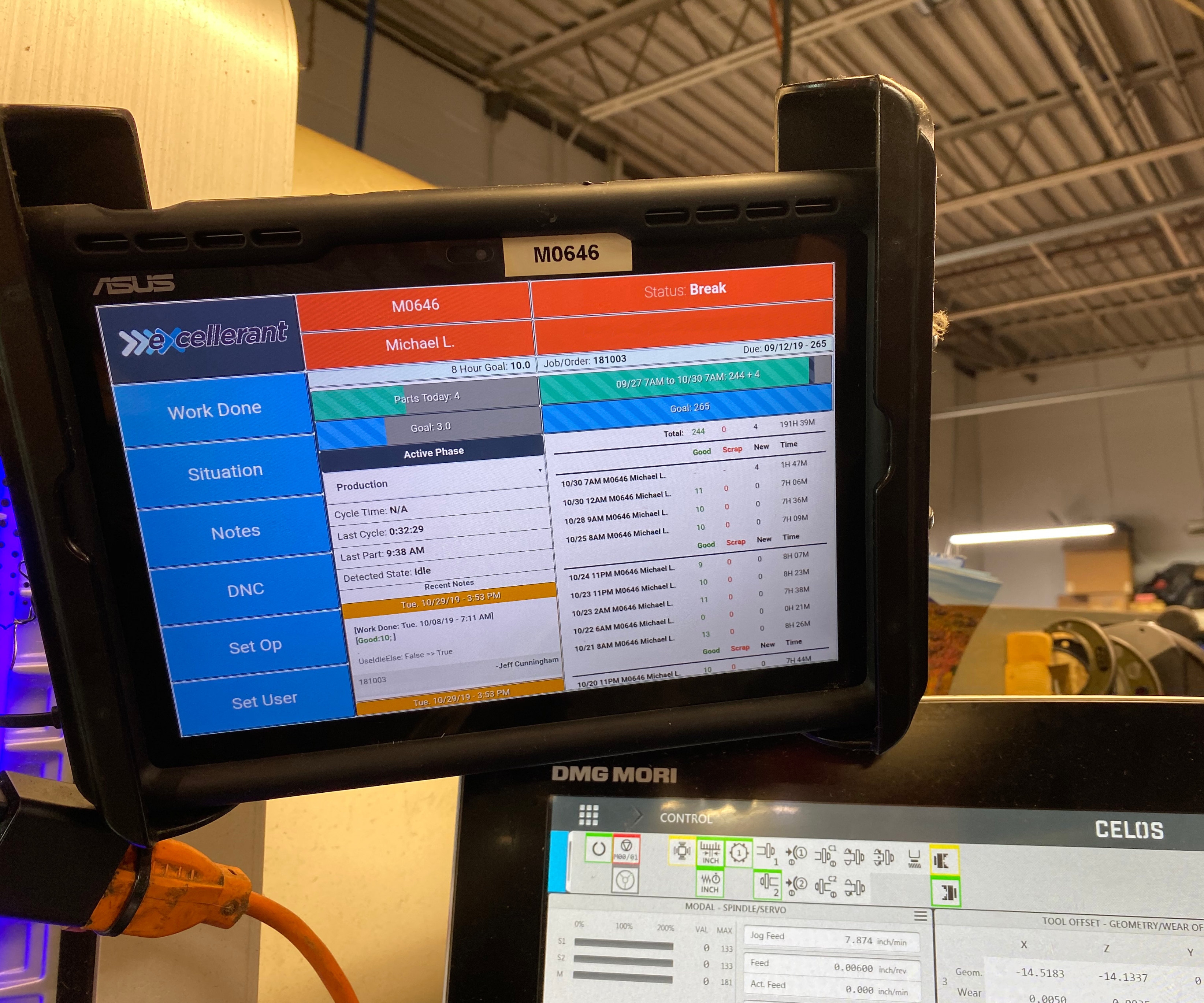 A tablet mounted near the CNC of a machine tool at McMellon Bros., an aerospace machine shop in Stratford, CT, provides enables shop floor personnel to interface with the company's machine monitoring system, Excellerant MDC.