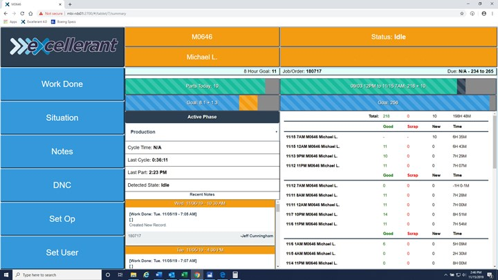 A screenshot from the Excellerant MDC shop floor data collection system at McMellon Bros. shows how operators and management can track job progress at individual CNC machining workstations.