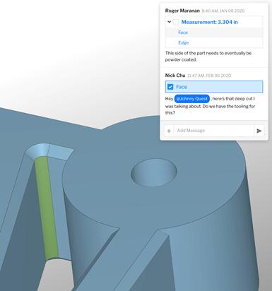 Compartir el acceso a elementos visuales, como una sección de un modelo de parte en 3D, hace que el diálogo sea claro y directo.