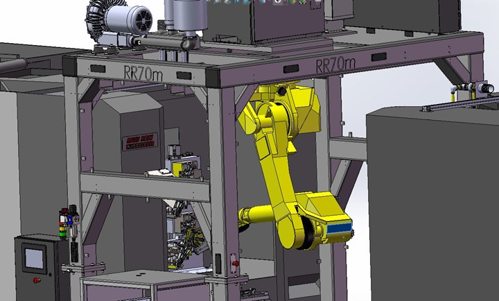 A design diagram depicts a robot hanging from a frame with its third joint inverted in order to access the workzone of a CNC machine tool.