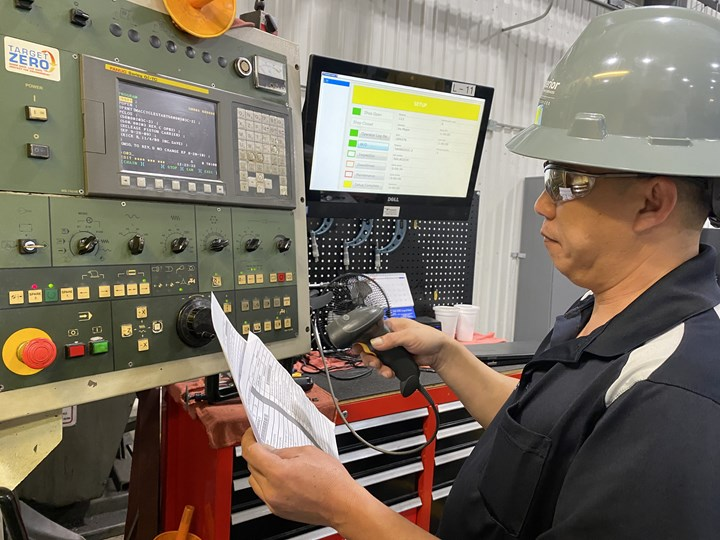 A shopfloor employee scans the barcode on a workpiece at oilfield manufacturer Superior Completion Services.