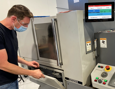 Charlie Hill and other shopfloor employees at Optimize Technologies interface with the FactoryWiz monitoring system directly from their workstations.