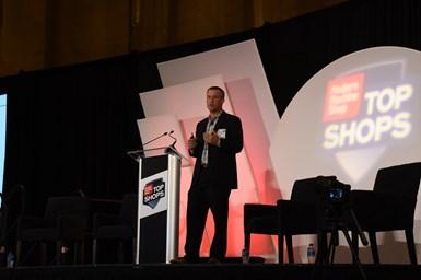 Steve Kline, chief data officer at Gardner Intelligence, gives a presentation at the 2019 Top Shops Conference.