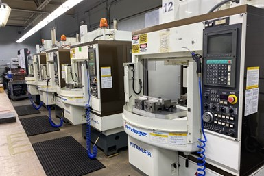 A line of Kitamura HMCs at Advanced Precision Engineering (APE), a CNC machining business in Ipswich, Mass.