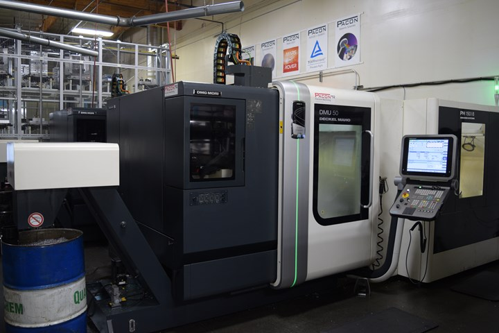 A DMG MORI DMU50 five-axis machining center serviced by a PH-150 pallet-transfer system produces parts at Pacon Mfg, Inc.