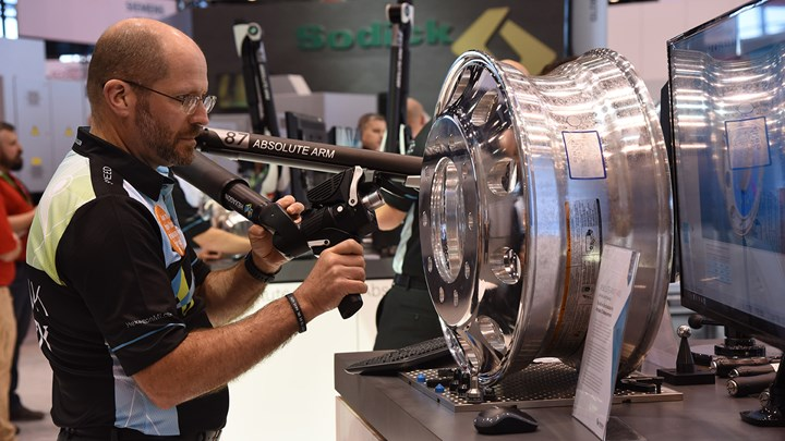 Hexagon Absolute Arm at IMTS for manufacturing metrology, using the latest digital technology
