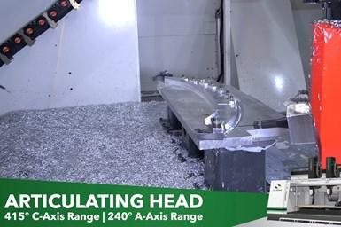 El cabezal articulado de la Hybrid Mill permite alcanzar, incluso, áreas de difícil acceso sin necesidad de un segundo setup.