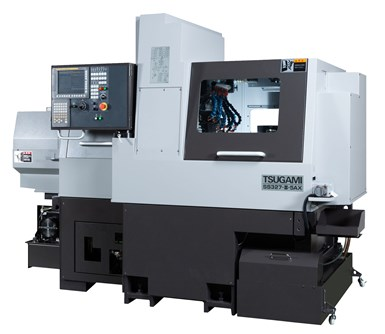 The exterior of a B-axis Swiss-type lathe from Tsugami.