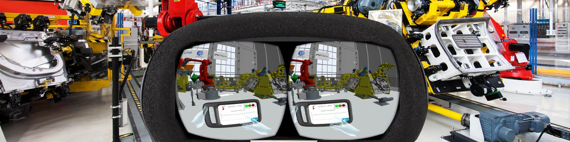 An illustration depicts augmented reality through AR goggles looking at manufacturing assembly robots.