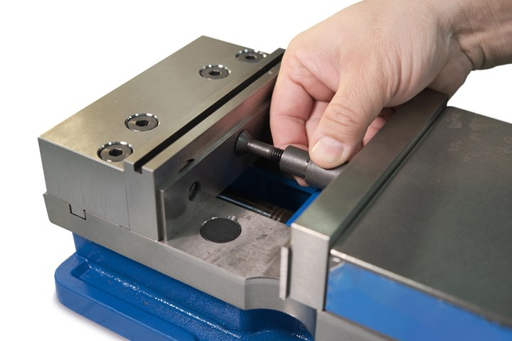 Rimeco Product's Parakeep parallel vise keeper holds vise jaws open during machine tool setups.