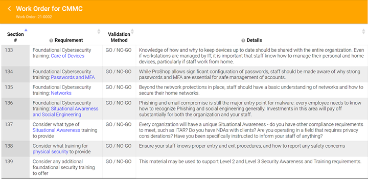 A screenshot from Proshop ERP demonstrates  CMMC-specific functionality to help guide machine shops through compliance.