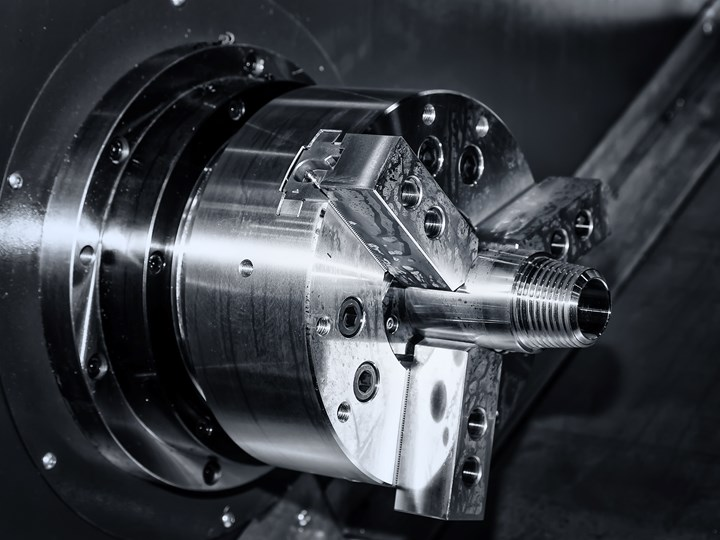 three jaw chuck on a turning center