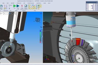 A screenshot from CappsNC machine tool measurement software depicts a 3D representation of  on-machine probing cycle.