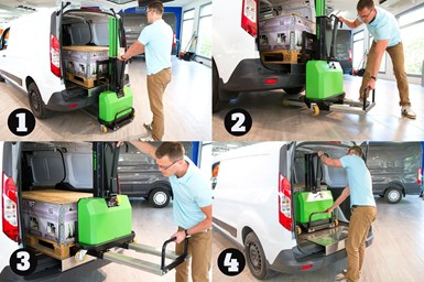 A collage of four images showing a man using the XXL Straddle Loader to load a van