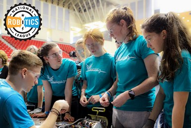 A photo of students at a National Robotics League competition