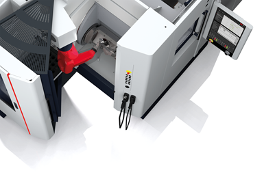 A rendering of a machine equipped with SW's new CNC HMI, the C one Control Panel