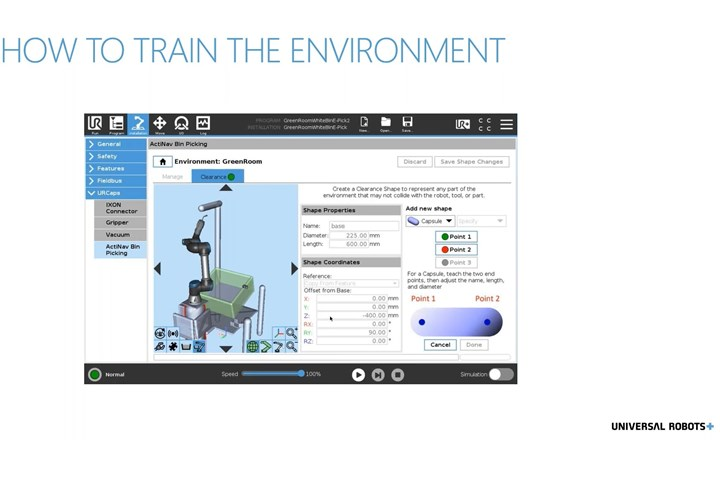 A screenshot of a webinar from Universal Robots, showing a mid-process step in ActiNav of teaching the cobot to avoid the area filled by the 3D vision sensor.
