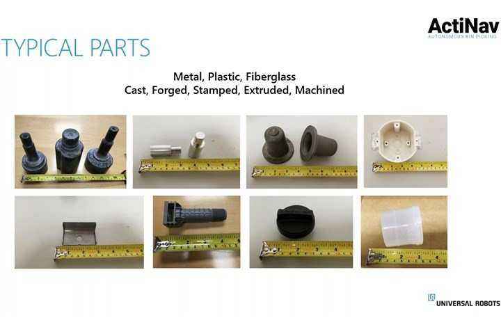 A screenshot of a Universal Robots webinar about ActiNav, illustrating the variety of parts that are compatible with the system and showing their sizes next to a tape measurer.