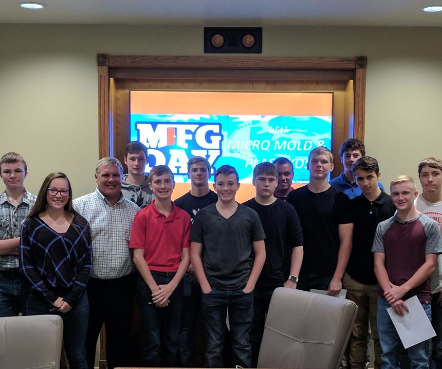 Freshmen and sophomore high school students toured Micro Mold and Plastikos in Erie, Pennsylvania in honor of MFG Day.