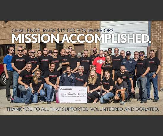 Alliance Laser Sales team with donation check for iWarriors 2017