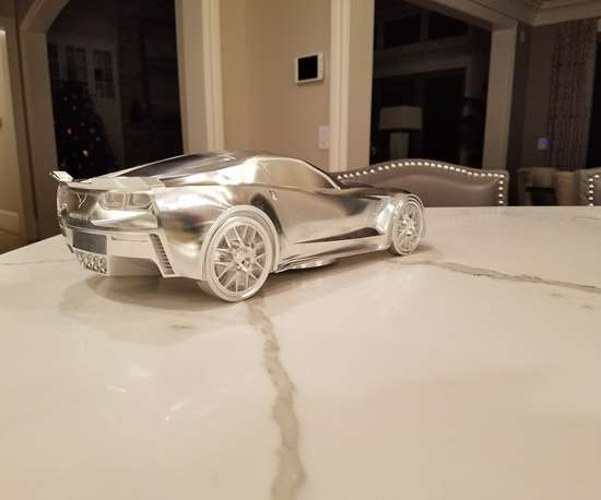 model Corvette machined out of aluminum at Ameritech Die and Mold.