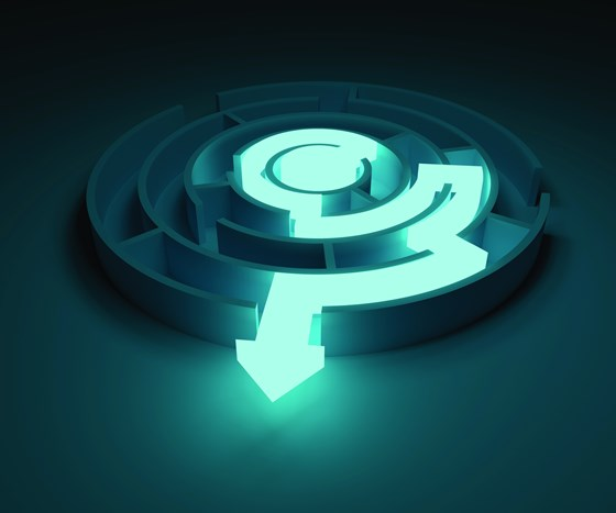 Circular maze with a lighted arrow showing the way out