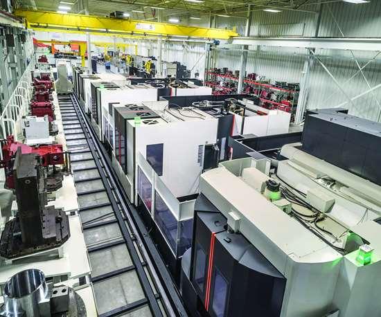 Bay of digitally connected Mazak machining centers
