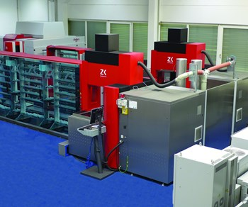 five-axis machining center, CNC measuring machine, two EDM machines and a handling system.