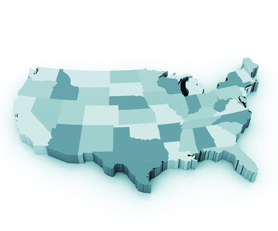 Segmented map of the United States showing state borders.