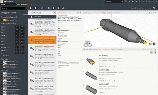 Screen shot of tool lifecycle management software