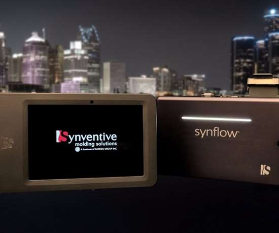Synflow technology against backdrop of a city skyline and the night sky