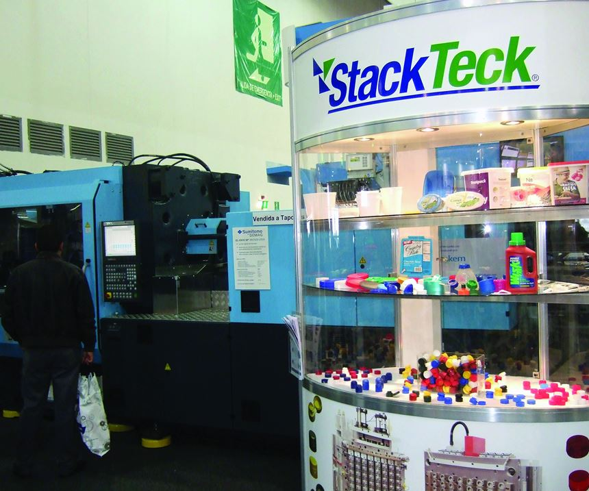StackTech Systems Inc. display at the Sumitomo Demag Booth (known as Avance Industrial in Mexico) at Plastimagen.