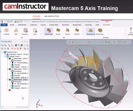 Screenshot of Mastercam five-axis training with CamInstructor