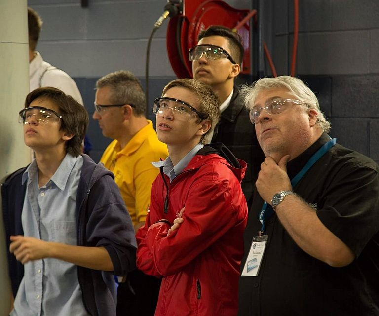 Students learning about moldmaking at Cavalier Tool in Ontario, Canada