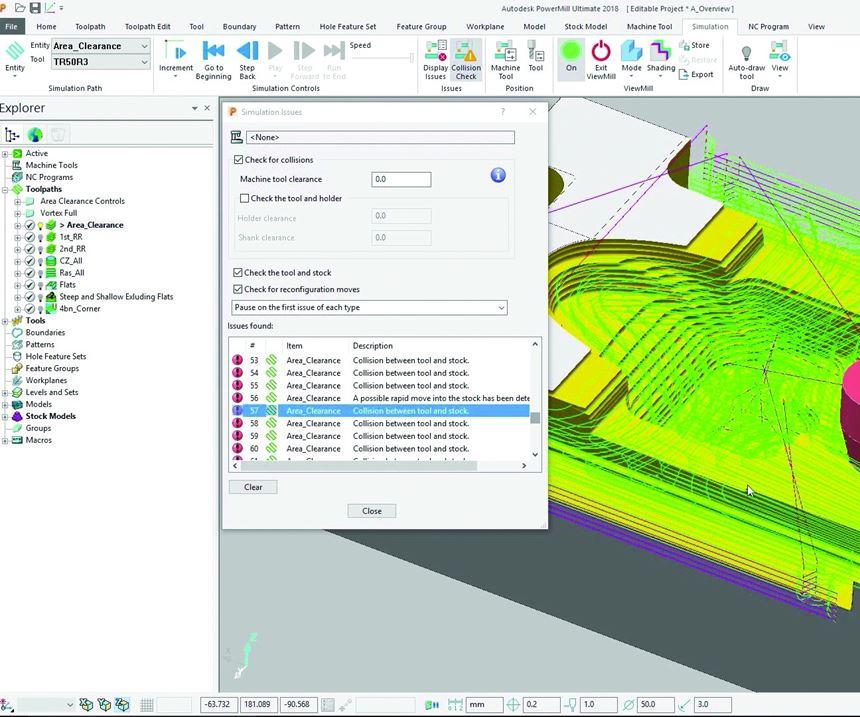 CAM simulation tool screen shot
