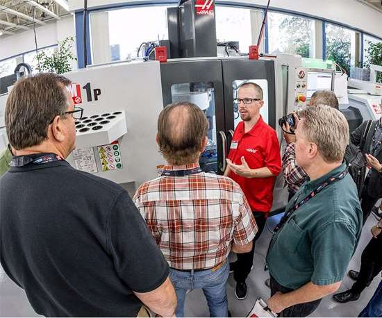 Haas professional gives tour of Haas machine center at HaasTec 2017