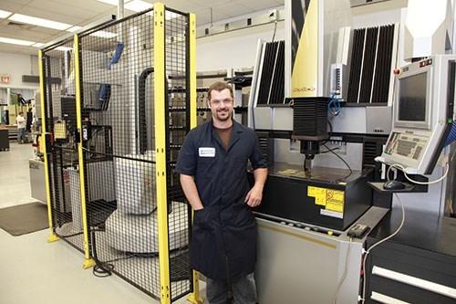 Mike Ryon, EDM Specialist at GW Plastics with the Sodick AG60L sinker EDM unit