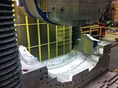 Modified 2618-cast aluminum automotive fascia mold from Clinton Aluminum