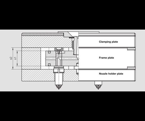 Hot runner system showing height of installation space versus height of the manifold block