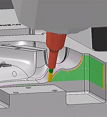 Five-axis machining simulation with CAD software