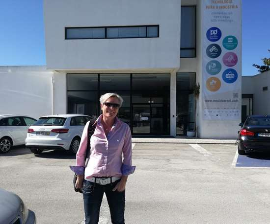 Barbara Schulz in front of the Centimfe Technology Center