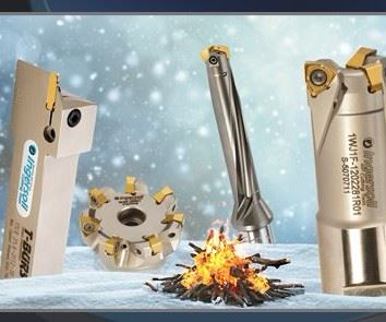 Ingersoll products next to a bonfire with snow falling in the background
