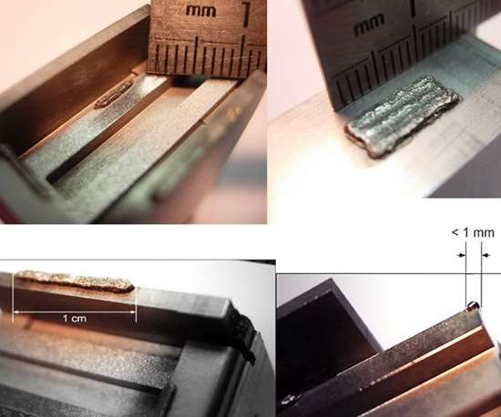 Examples of micro welds performed on various types of mold surfaces