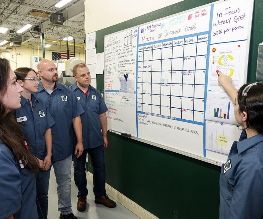 team meeting on shop floor