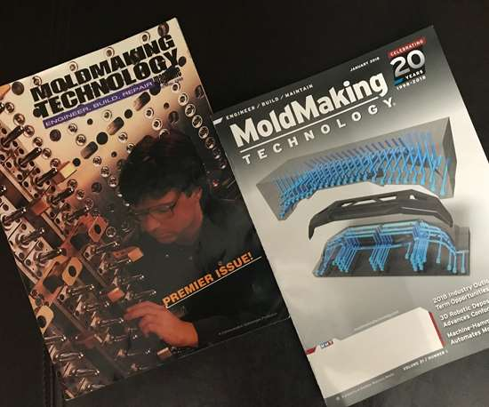 Covers of MoldMaking Technology's April 1998 and January 2018 covers