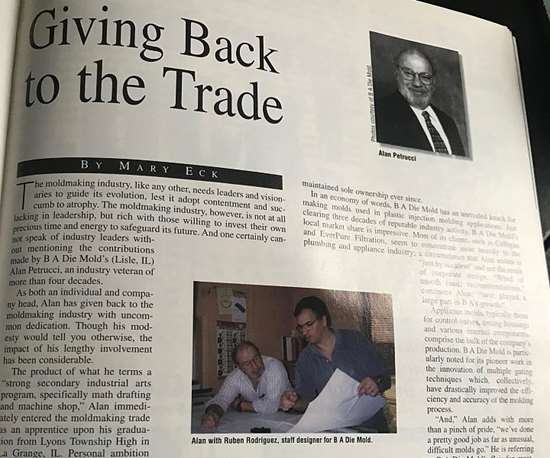 Flashback to 1998 MoldMaking Technology article on B A Die Mold Inc.